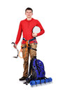 Tourist hiker with backpack Royalty Free Stock Photo