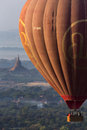 Tourist hot air balloon flight bagan myanmar tourists in a flying over the temples of the archaeological zone in in the early Royalty Free Stock Images