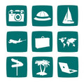 Tourist items icon set Royalty Free Stock Images
