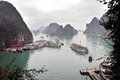 Tourist junks in halong bay vietnam feb navigating through the karst islands this is one of s prime travel destinations Royalty Free Stock Image