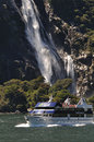 Tourist launch at Milford Sound, New Zealand Stock Photography