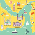 Tourist map with famous destinations and landmarks of Istanbul Royalty Free Stock Photo