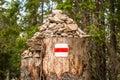 Tourist mark on a stump with rocks Royalty Free Stock Photo