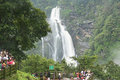 Tourist near jog falls tourists enjoying beauty of waterfall shimoga india Stock Photo
