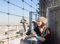 Tourist on the observation platform of Notre Dame Stock Photos