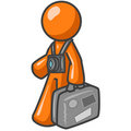 Tourist - orange man cartoon Royalty Free Stock Images