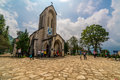 Tourist from oversea are visitting church in Sapa