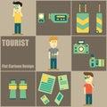 Tourist People Flat Cartoon