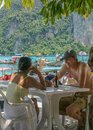 The tourist in phi phi island thailand is taken Royalty Free Stock Photography