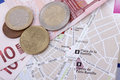 Tourist photo of map of paris and euro money Royalty Free Stock Photos
