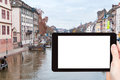 Tourist photographs of old Strasbourg town Royalty Free Stock Photo