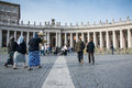 Tourist and pilgrims in san peter s square vatican city vatican city state march more people st the vatican city a summer day Royalty Free Stock Image