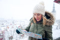 Tourist portrait of youg pretty outdoors in winter Royalty Free Stock Photos