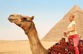 Tourist riding camel in Giza. Young blonde woman near Pyramid Royalty Free Stock Photo