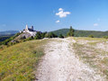 Tourist route to cachtice castle summer view of rourist situated in the mountains above the village trencin region slovakia the Stock Photography