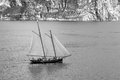 Tourist ship on garda lake italy black and white version Stock Photos