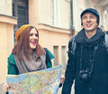 Tourist sightseeing the city happy couple Stock Photo