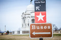 Tourist signs in gettysburg pa tell visitors to the battlefield where to locate buses and auto tours Stock Images