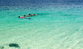 Tourist snorkeling in clear sea in lipe island thailand Royalty Free Stock Photo
