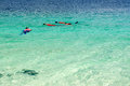 Tourist snorkeling in clear sea in lipe island thailand Royalty Free Stock Photos
