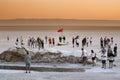 Tourist spot at salt lake Chott El Jerid Royalty Free Stock Photo
