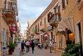 The tourist street la maddalena sardinia september via giuseppe garibaldi is shopping paradise for tourists there are many cafes Royalty Free Stock Image