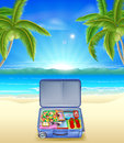 Tourist suitcase on tropical beach an illustration of a tourists a with coconut palm trees Royalty Free Stock Image