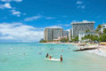 Tourist sunbathing and surfing on the waikiki beach in hawaii oahu hi september september oahu is beachfront neighborhood of Stock Photography