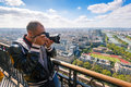 Tourist take picture of paris from the eiffel tower france Stock Image