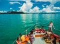Tourist taking photo on bow of ferry boat heading to samui islan island Stock Photos
