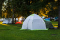 Tourist tent on green lawn Royalty Free Stock Photo