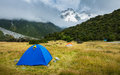 Tourist tent in white horse hill campground mt cook national park Stock Photography