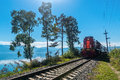 Tourist train rides on the Circum-Baikal Railway Royalty Free Stock Photo