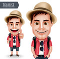 Tourist Traveler Man Vector Character Wearing Casual with Backpack for Travel and Hiking