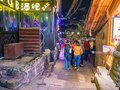 Tourist walking in the evening of  fenghuang old town Royalty Free Stock Photo