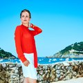Tourist woman in Donostia, Spain looking into the distance Royalty Free Stock Photo
