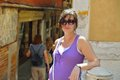 Tourist woman have beautoful vacation time in venice pregnant italy Stock Photos