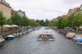 Touristic boat in copenhagen denmark july on christianshavns kanal Royalty Free Stock Photos