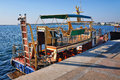 Touristic boat in sevastopol double deck moored crimea Royalty Free Stock Images