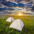 Touristic camp at the evening Stock Images