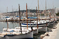 Touristic harbour with many sailing boats and motorboats in palma de majorca spain photograph taken on june Stock Image