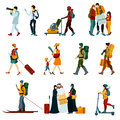 Touristic people set with males and females with backpacks and maps vector illustration Stock Image