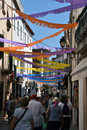 Touristic street tossa de mar catalonia spain colorful decorations above Royalty Free Stock Photography