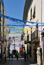 Touristic street tossa de mar catalonia spain colorful decorations above Stock Image