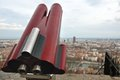Touristic telescope in lyon france close view of Royalty Free Stock Image