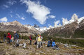 Tourists admiring scenic view of Mount Fitz Roy, one of the most beautiful places in Patagonia, Argentina. Royalty Free Stock Photo