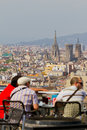 Tourists and aerial Barcelona from Montjuic Royalty Free Stock Photo