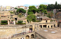 Tourists in the ancient roman herculaneum italy was an town destroyed by volcanic pyroclastic flows a d located territory of today Stock Photos