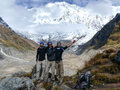 Tourists at Annapurna Base Camp Royalty Free Stock Photo