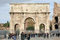 Tourists at The Arch of Constantine in Rome, Italy Royalty Free Stock Image